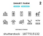 smart farm outline icons pack...