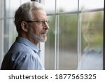 Small photo of Pensive elderly mature senior man in eyeglasses looking in distance out of window, thinking of personal problems. Lost in thoughts elderly middle aged grandfather suffering from loneliness, copy space