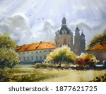 Watercolor painting of a beautiful monastery in Lithuania
