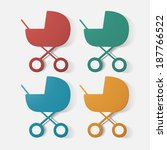 paper clipped sticker  buggy.... | Shutterstock .eps vector #187766522