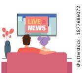 people watch tv news hygge... | Shutterstock .eps vector #1877686072