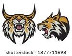bobcat lynx wildcat angry... | Shutterstock .eps vector #1877711698