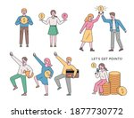 a man is holding a money icon.... | Shutterstock .eps vector #1877730772