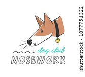 Vector hand drawn sniffing dog. Nosework club emblem with text, isolated on white background