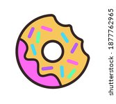 multicolored glazed donut with... | Shutterstock .eps vector #1877762965