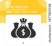 money bag icon vector sign with ...