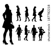vector silhouette of a woman on ... | Shutterstock .eps vector #187782218