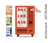 vending machine and hand coin   ... | Shutterstock .eps vector #187782368