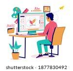graphic designer creating logo... | Shutterstock .eps vector #1877830492