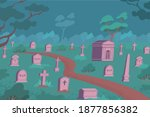 cemetery flat composition with... | Shutterstock .eps vector #1877856382