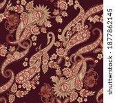paisley floral oriental ethnic... | Shutterstock . vector #1877862145