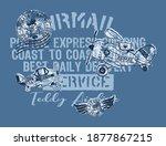 cute teddy bear airmail company ... | Shutterstock .eps vector #1877867215