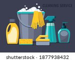 cleaning supplies. spray  spong ... | Shutterstock .eps vector #1877938432