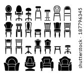 set icons of chairs isolated on ... | Shutterstock .eps vector #187796345