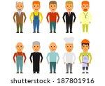 set of cartoon men in working... | Shutterstock .eps vector #187801916