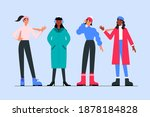 people wearing cozy winter...   Shutterstock .eps vector #1878184828