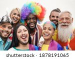 Cheerful multiracial people...