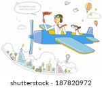 illustration of man in airplane ... | Shutterstock . vector #187820972