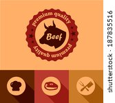 illustration of beef labels in... | Shutterstock .eps vector #187835516