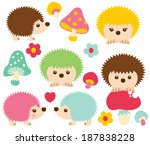 happy hedgehogs | Shutterstock .eps vector #187838228