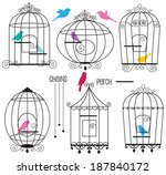 bird cages  | Shutterstock .eps vector #187840172