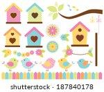 spring birds   bird garden | Shutterstock .eps vector #187840178