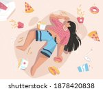 overweight woman lies among... | Shutterstock .eps vector #1878420838