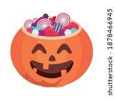 halloween pumpkin face with... | Shutterstock .eps vector #1878466945