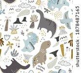 childish seamless dino pattern. ... | Shutterstock .eps vector #1878487165