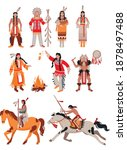 set of indians in traditional... | Shutterstock .eps vector #1878497488
