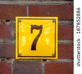 Enameled House Number Seven....