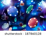 poker chips falling with... | Shutterstock . vector #187860128