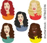 girls set a different hair color | Shutterstock .eps vector #187863146