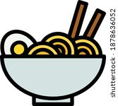 noodle vector icon in filled...
