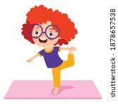 funny kid in yoga pose | Shutterstock .eps vector #1878657538