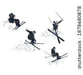 extreme skiers getting big air... | Shutterstock .eps vector #1878680878
