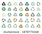set recycle vector icons. label ... | Shutterstock .eps vector #1878774268