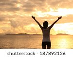 cheering woman open arms to... | Shutterstock . vector #187892126