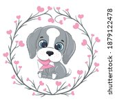 cute little dog with letter.... | Shutterstock .eps vector #1879122478