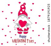 happy valentine's day gnome... | Shutterstock .eps vector #1879191925