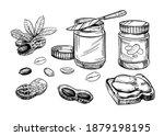 peanut butter illustration.hand ... | Shutterstock .eps vector #1879198195