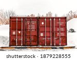 Old Red Shipping Container Door ...