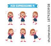 cute little kid girl in various ... | Shutterstock .eps vector #1879253938