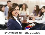successful businesswoman at the ... | Shutterstock . vector #187926308