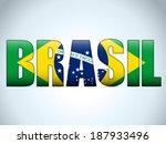 Vector - Brasil 2014 Letters with Brazilian Flag