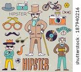 funny hipster set. vector... | Shutterstock .eps vector #187940216