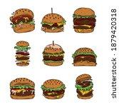 burger varieties  including... | Shutterstock .eps vector #1879420318