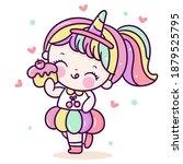 cute girl vector wear unicorn...   Shutterstock .eps vector #1879525795