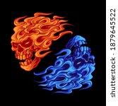 Fire Skull Yin Yang Vector...