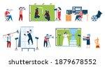 set of movie production scenes...   Shutterstock .eps vector #1879678552
